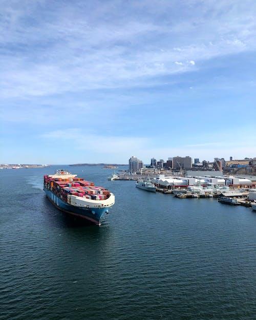 Ship in calm sea near port