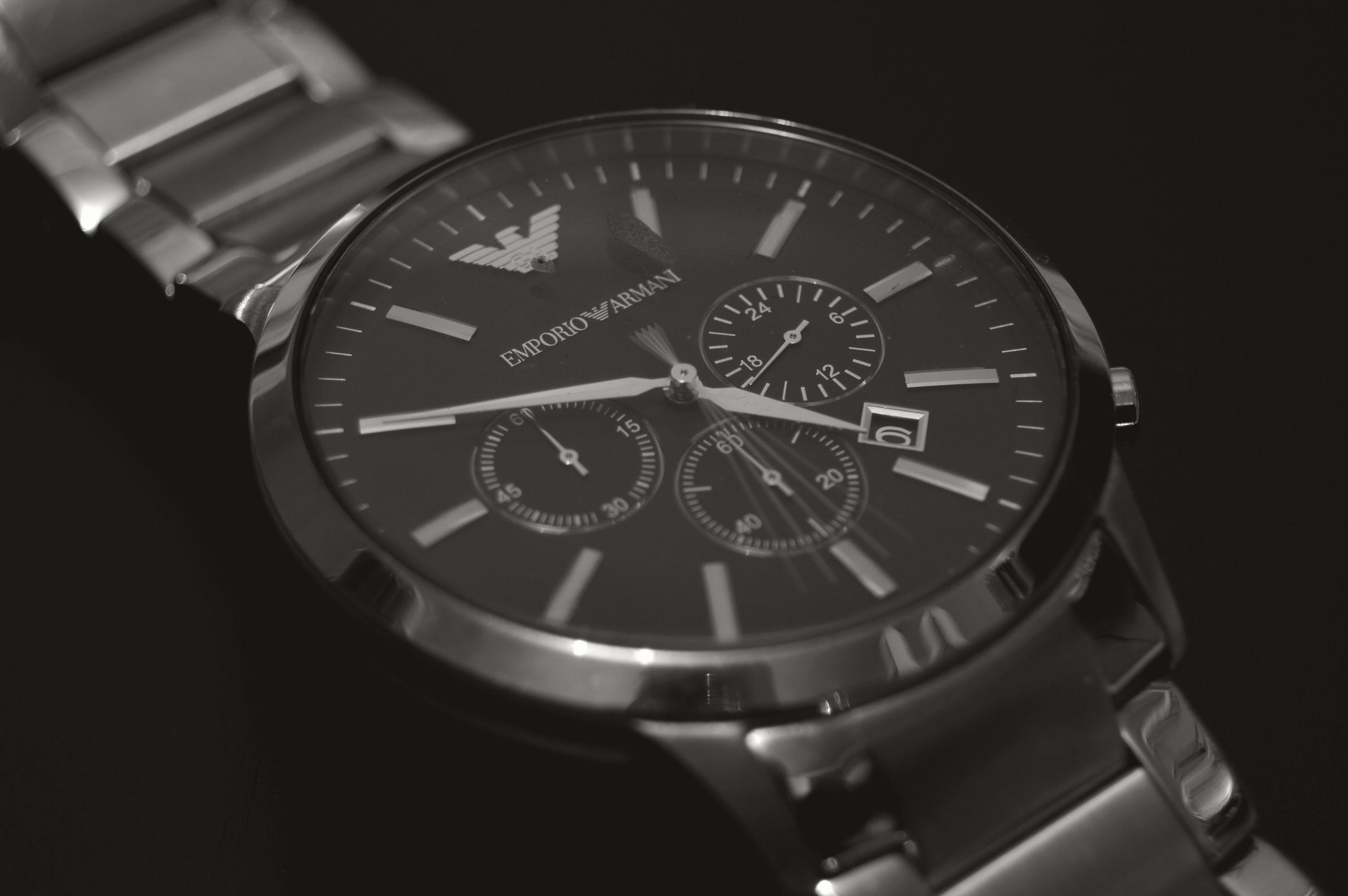 Round Silver-colored Emporio Armani Chronograph Watch