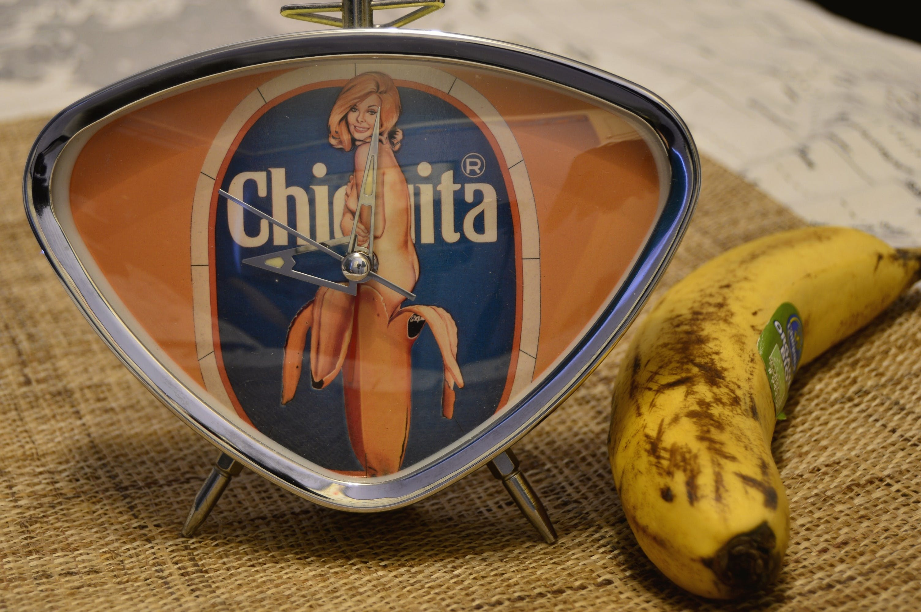 Free stock photo of banana, chiquita, clock, fruit