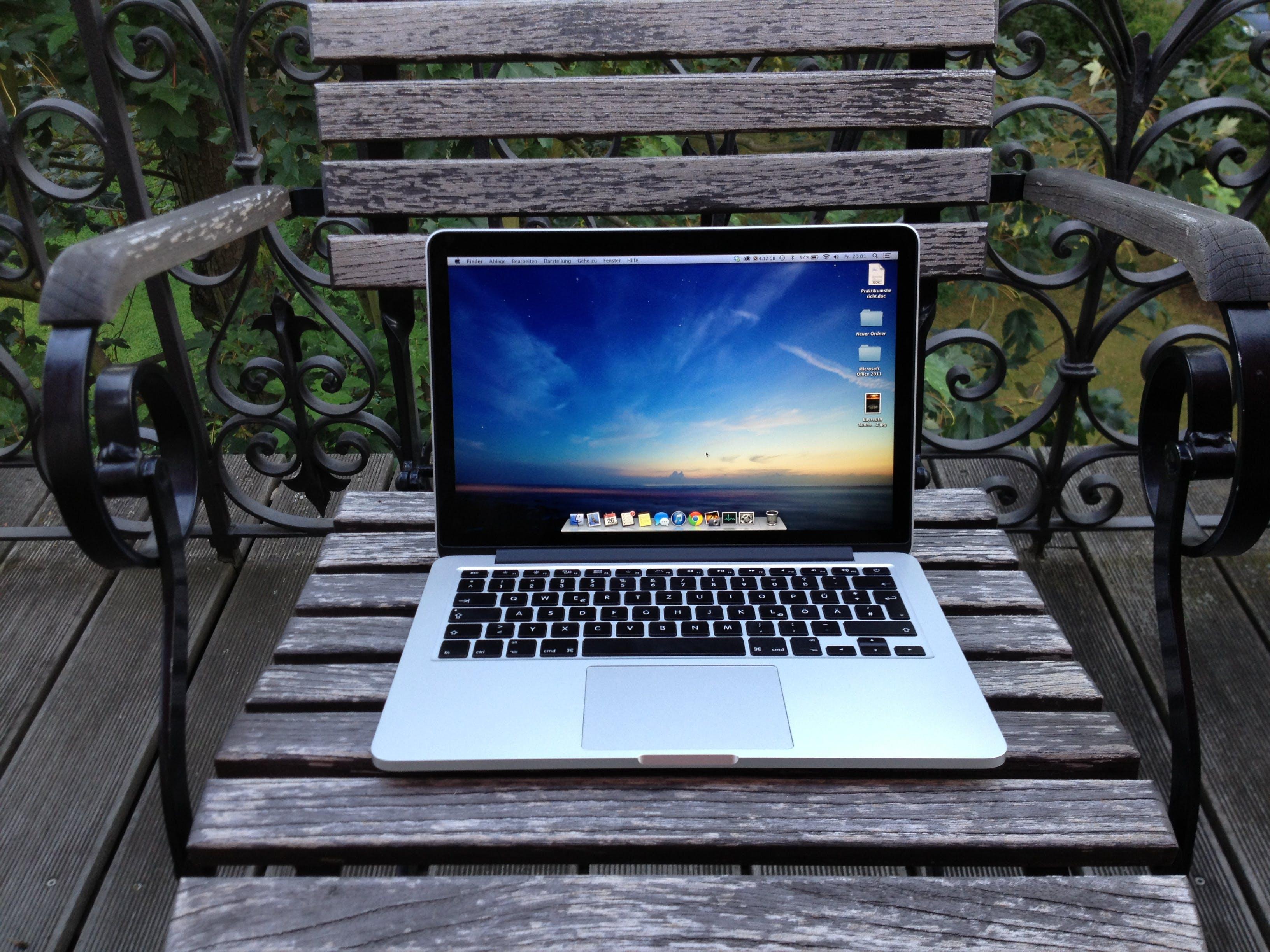 Free stock photo of balcony, chair, garden, macbook