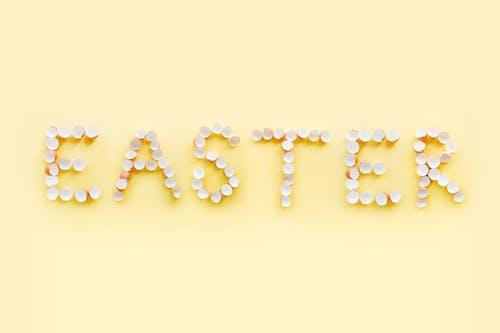 Easter Written With Eggshells