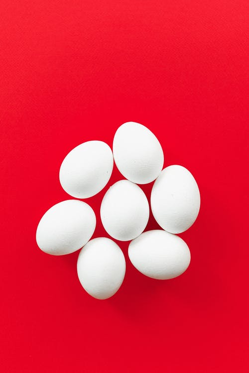 Eggs on a Red Background