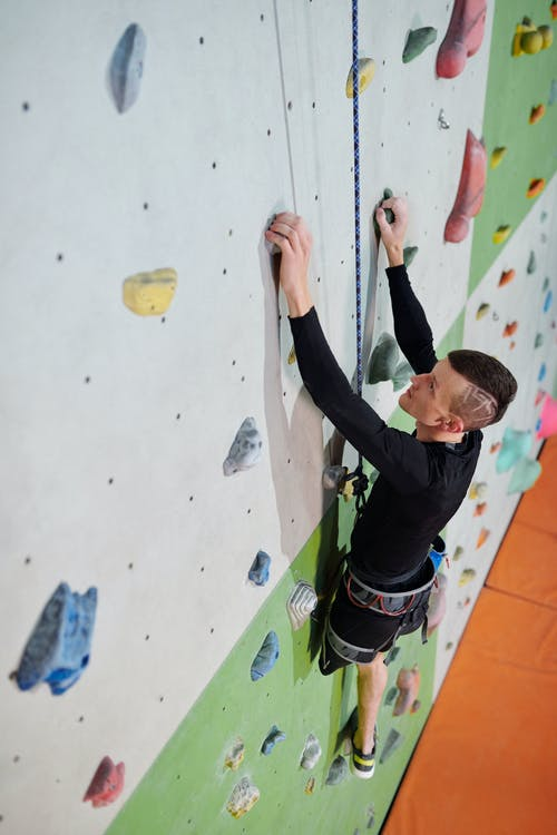 Man Doing Wall Climbing