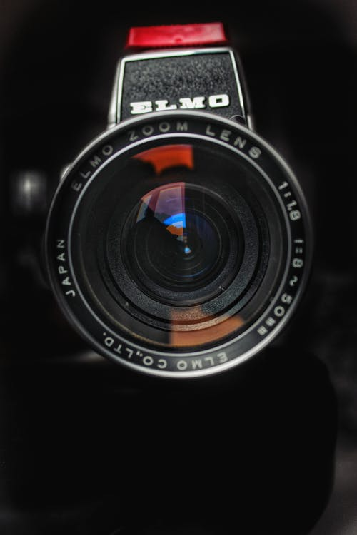 Black Camera Lens in Close-up View