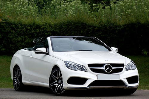 White Mercedes Benz Convertible Coupe