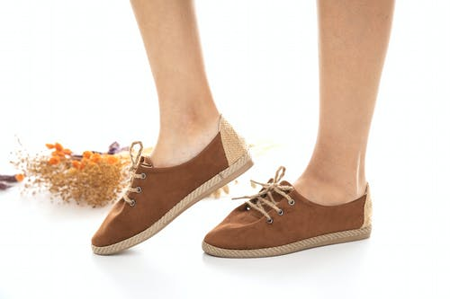 Person Wearing Brown Suede Lace Up Shoes