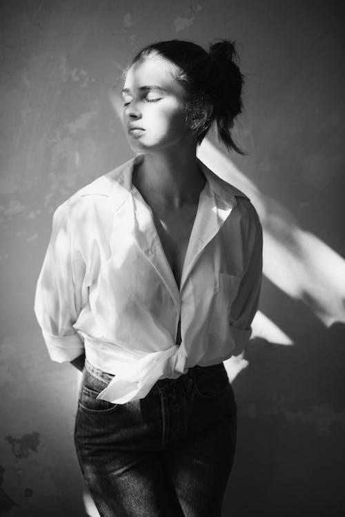 Monochrome Photography of Woman Wearing Dress Shirt