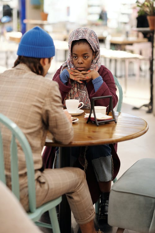 Muslim Couple Having Coffee