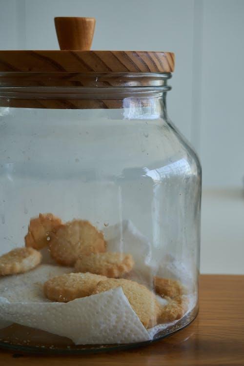 Brown Cookies in Clear Glass Jar