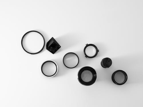 Black Round Frame on White Surface