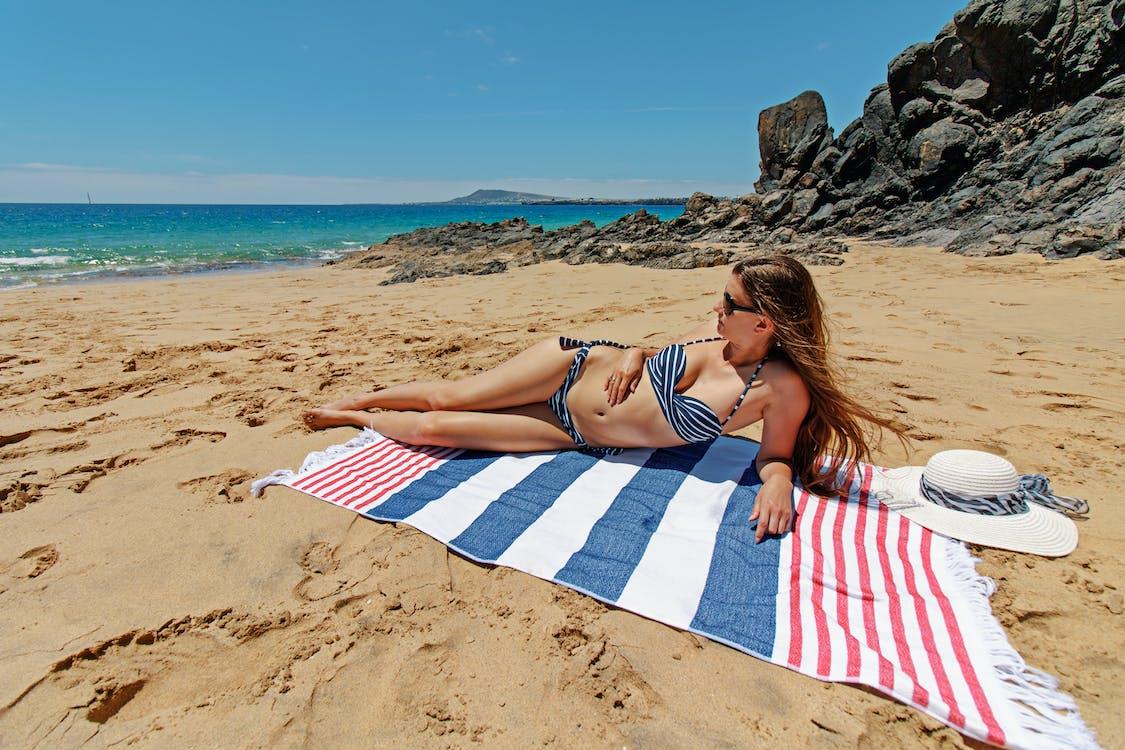agua, arena, bikini