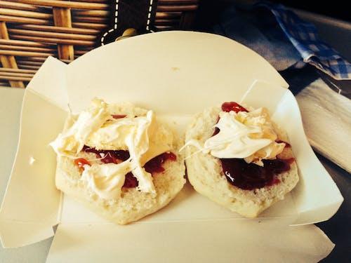Free stock photo of clotted cream, planefood, scones