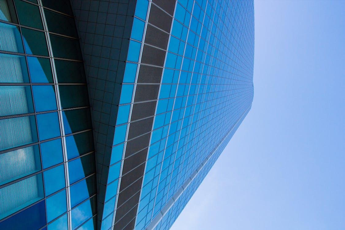 ablakok, acél, alacsony szögű felvétel