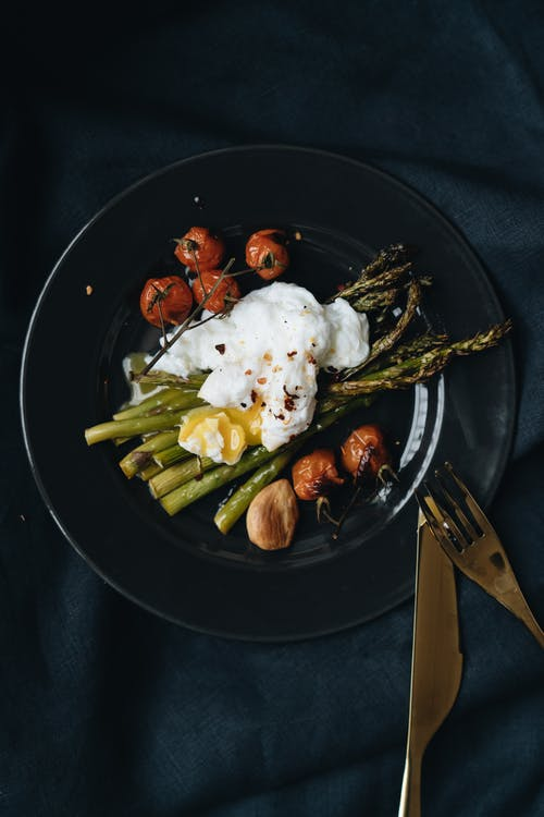 Photo Of Poach Egg On Top Of Asparagus