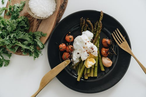 Photo Of Poached Egg On Top Of Asparagus