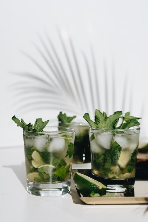 Photo Of Two Glasses With Mint Leaves