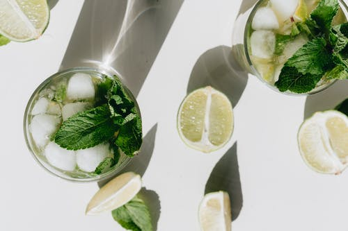 Close-Up Photo Of Mint Leaves On Glass