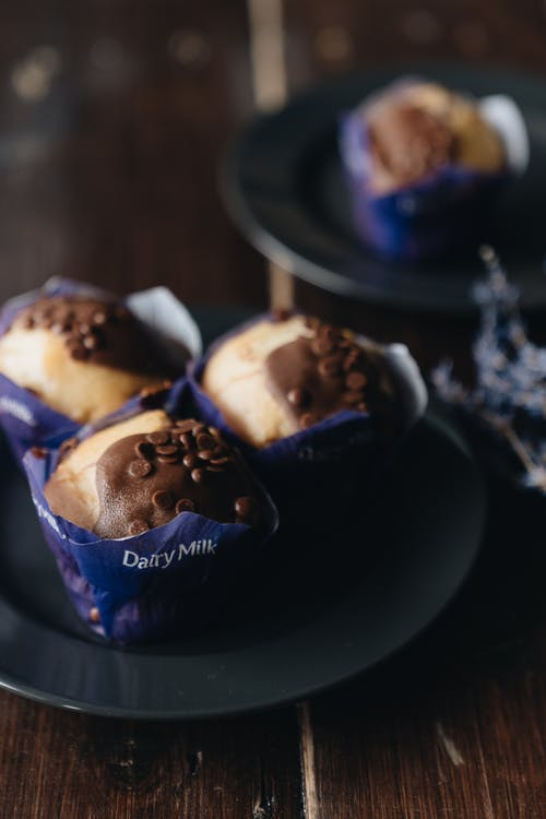 Photo Of Chocolate Muffins On Plate