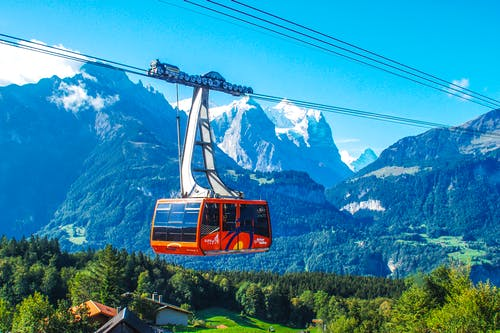 Cable Car and View of Mountains