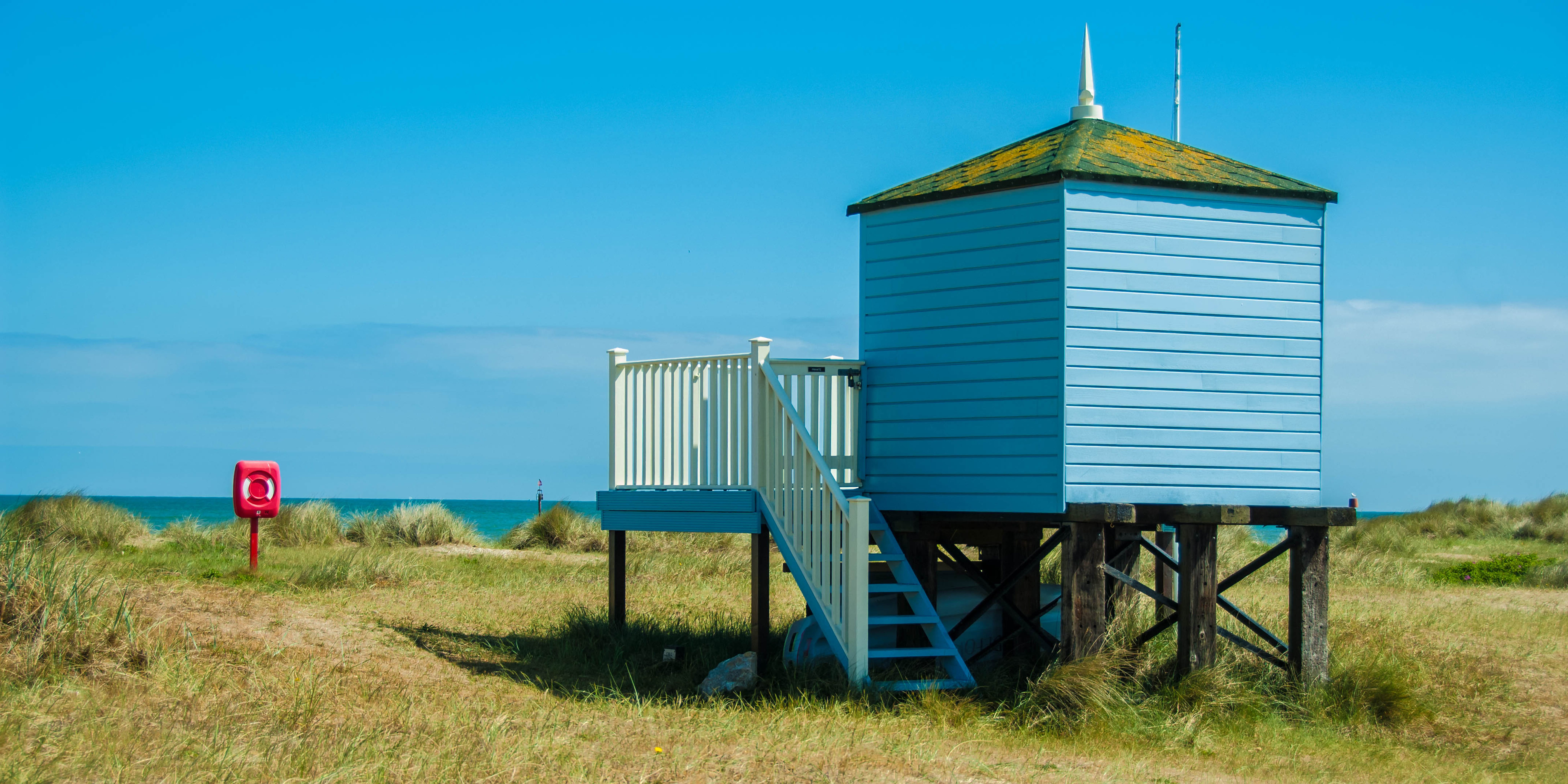 beach, beach hut, blue