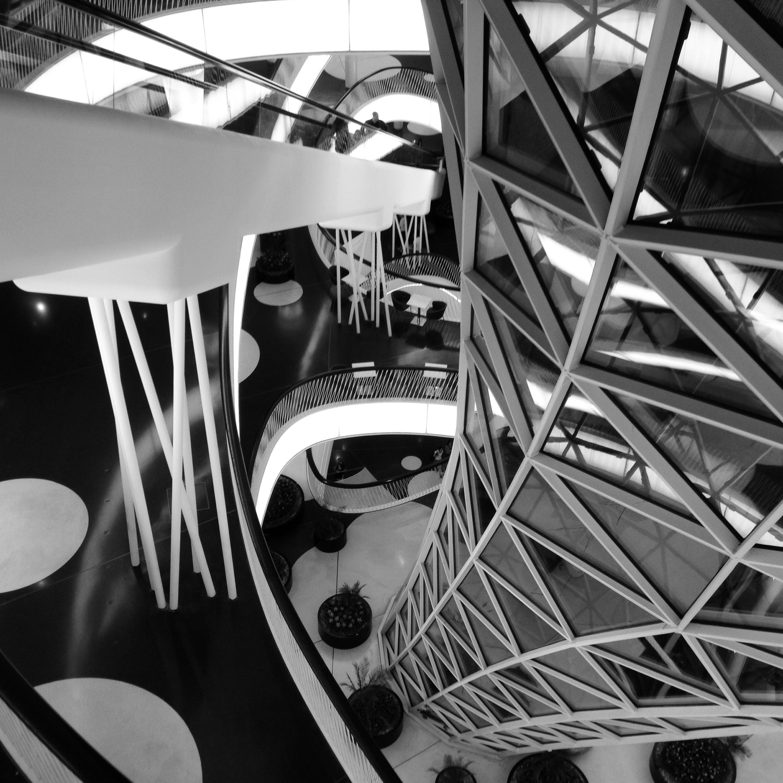 Free stock photo of black and white, black and-white, construction, escalator
