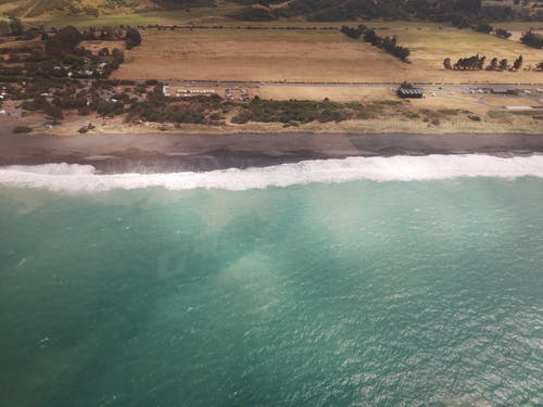 Free stock photo of aerial photo, beach, helicopter