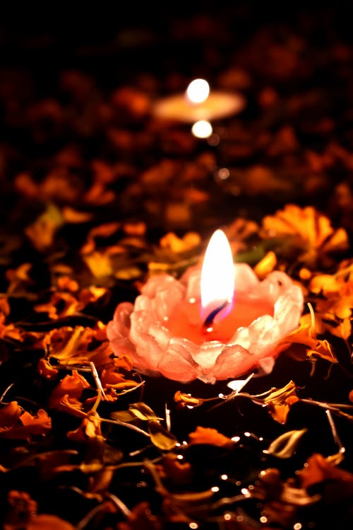 Lighted Candle on Brown Leaves
