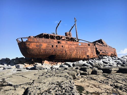 Free stock photo of boat, rocks, rust, rusty
