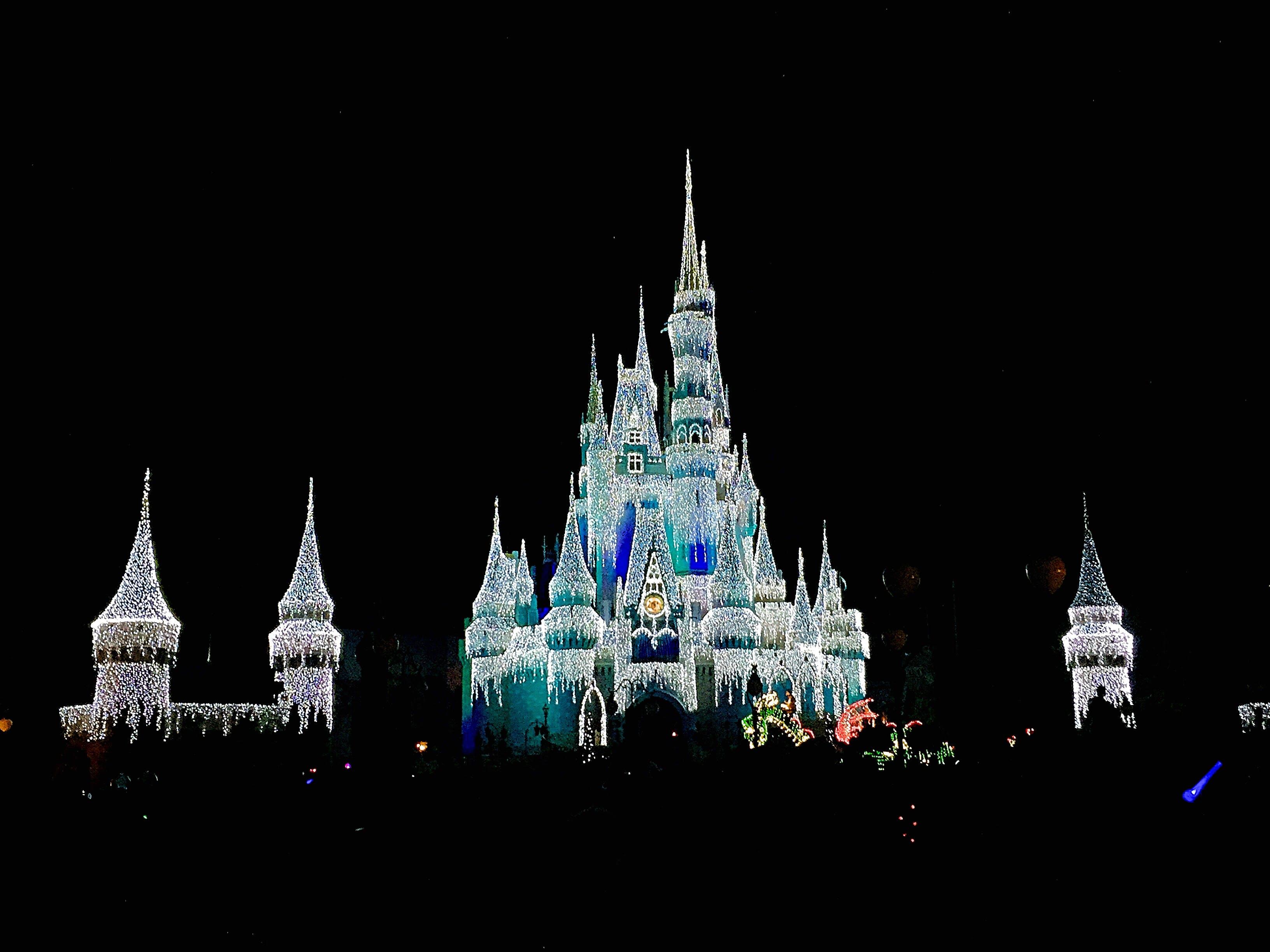 castle, christmas lights, disney