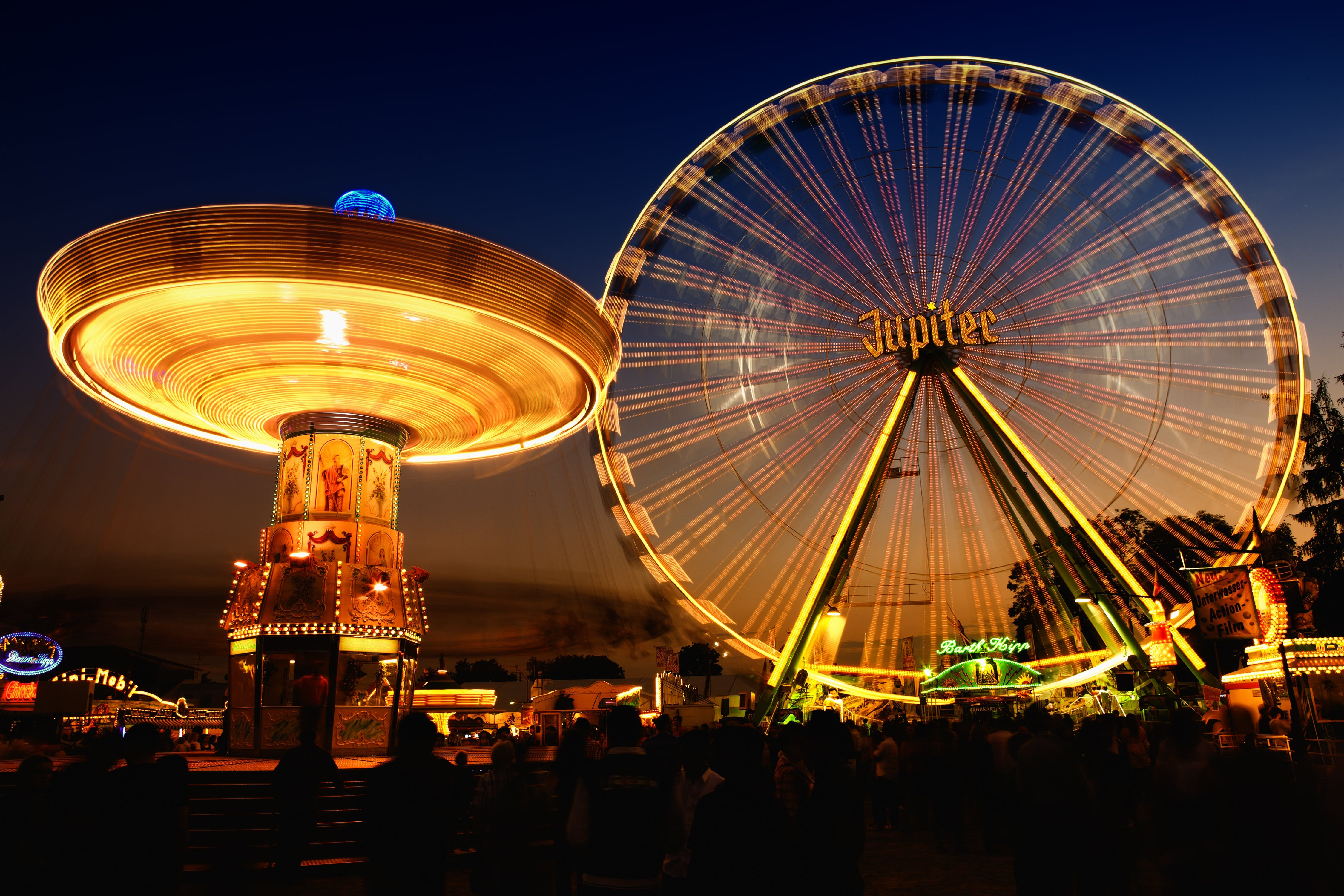 Time Lapse Photo of Circus Rides at Night