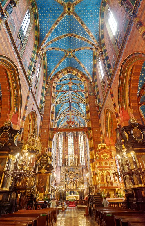 Gold and Blue Cathedral Interior