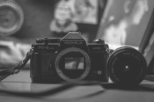 Monochrome Photo Of Analog Camera