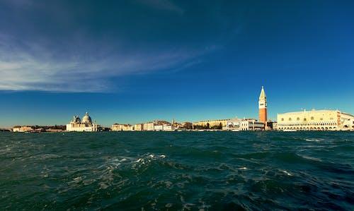 Cityscape Near Body of Water Under Blue Sky