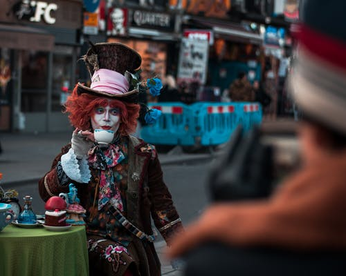 A Street Performer Drinking Tea