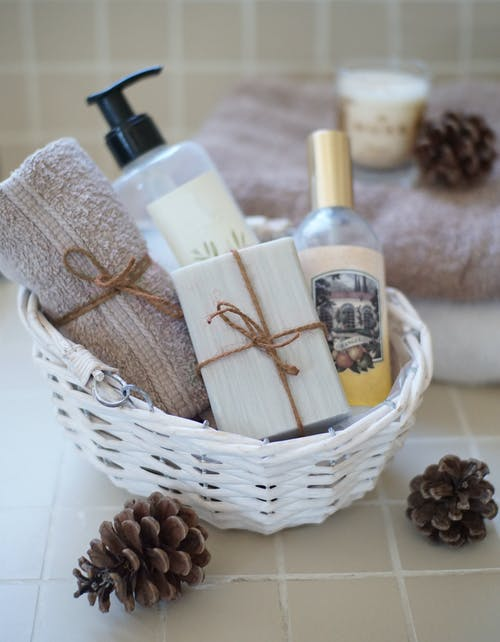 Bathing Essentials In Brown Wicker Basket