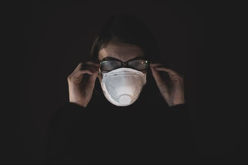 Woman in Black Long Sleeve Shirt Wearing N95 Mask