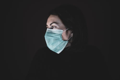 Woman in Black Shirt Wearing Face Mask