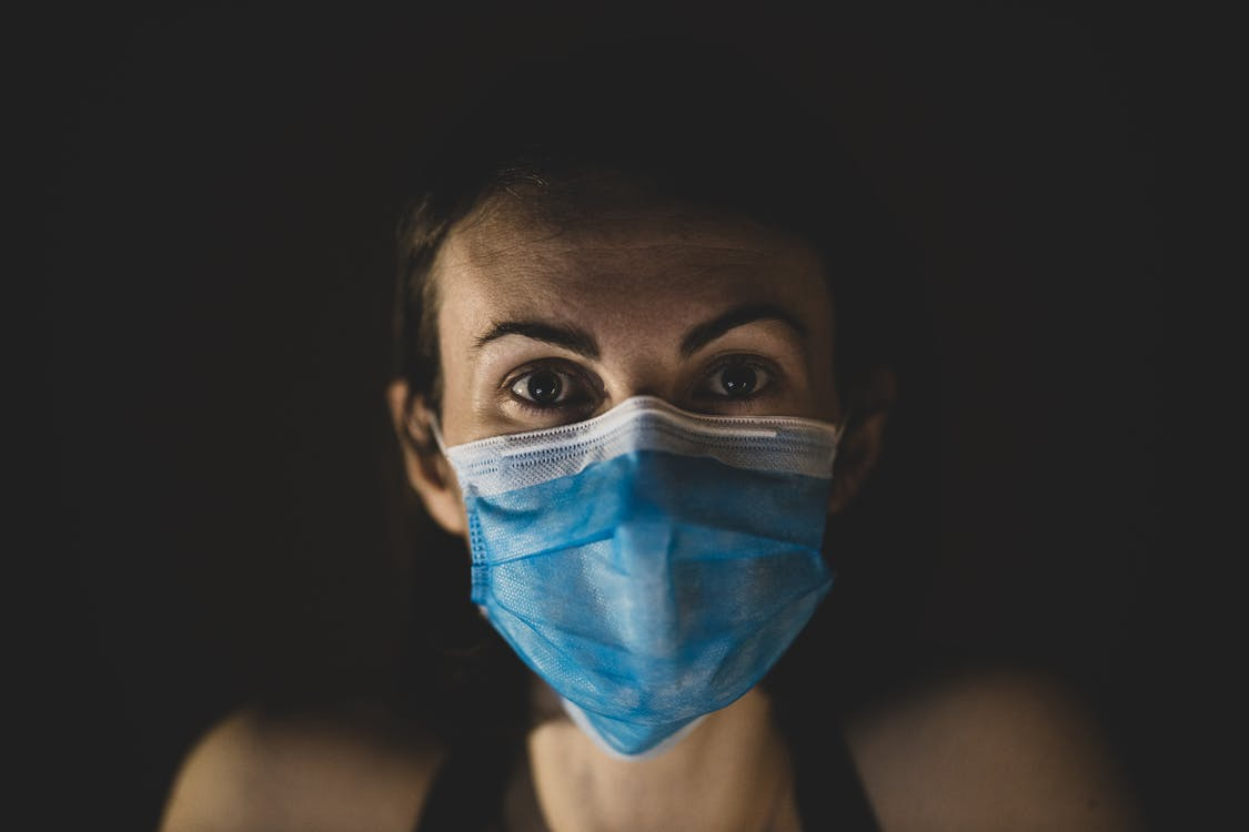 Woman Wearing A Blue Surgical Face Mask