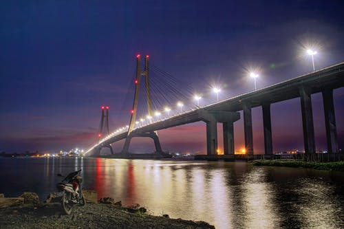 View Of A Bridge During Night Time