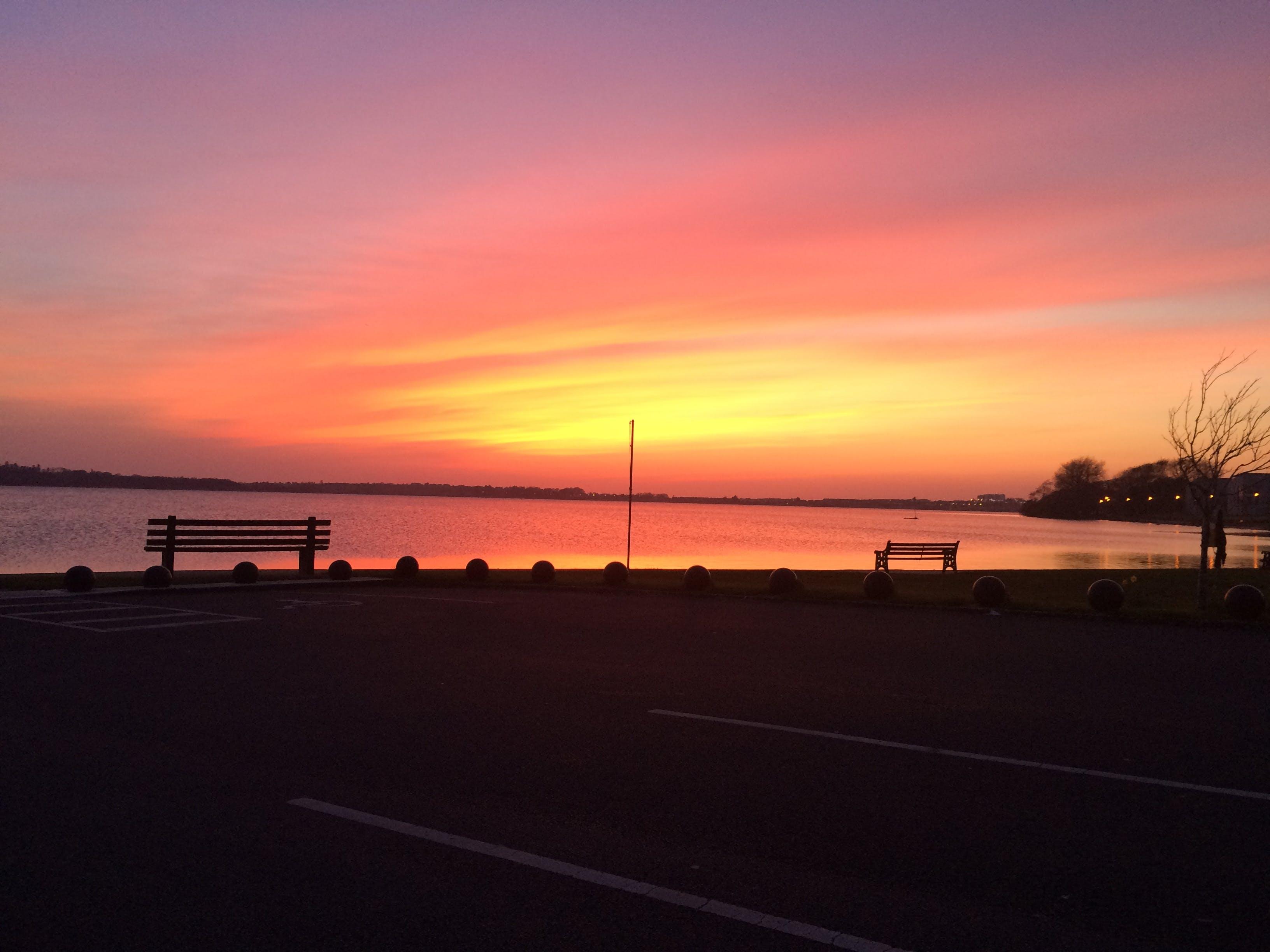 Free stock photo of bench, sunset, lake, orange