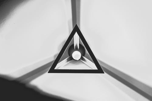 Free stock photo of black and white, ceiling, geometric, lamp