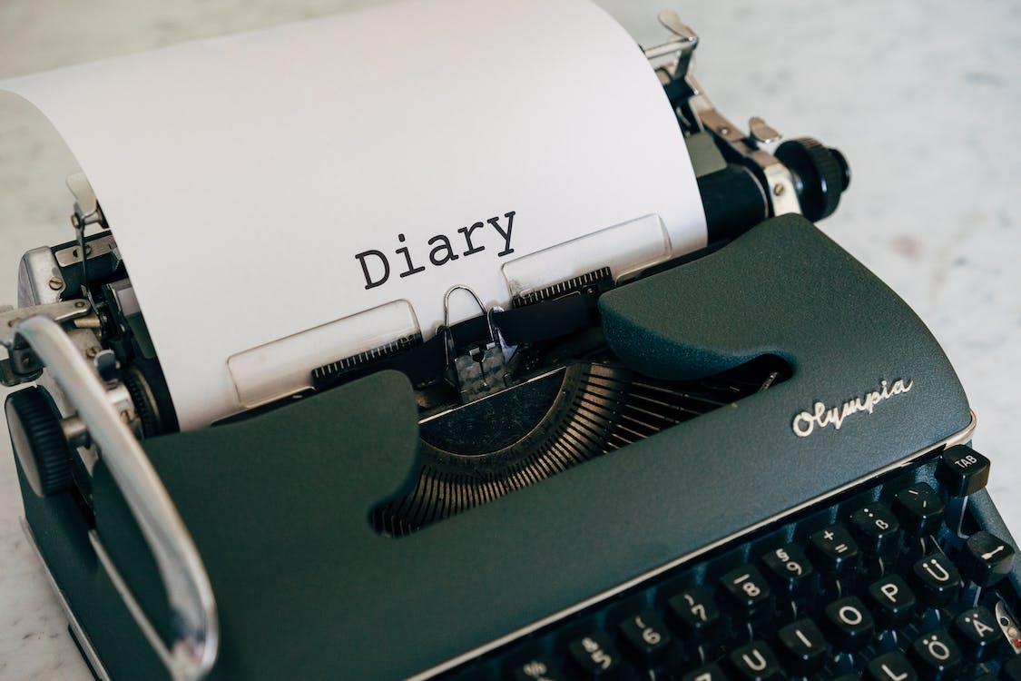 An Old Typewriter on White Table