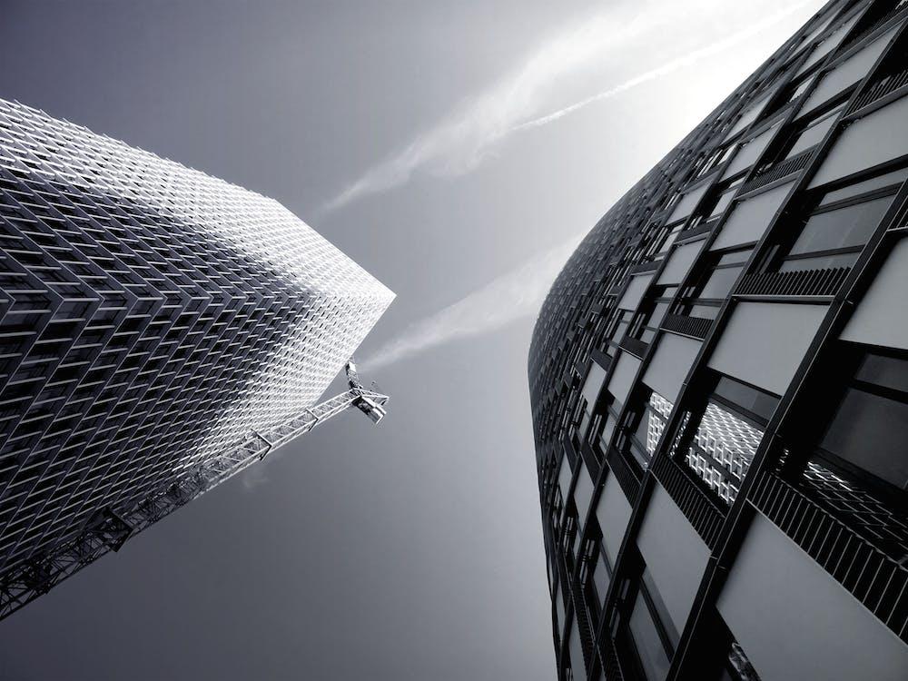 architektur, aufnahme von unten, büro