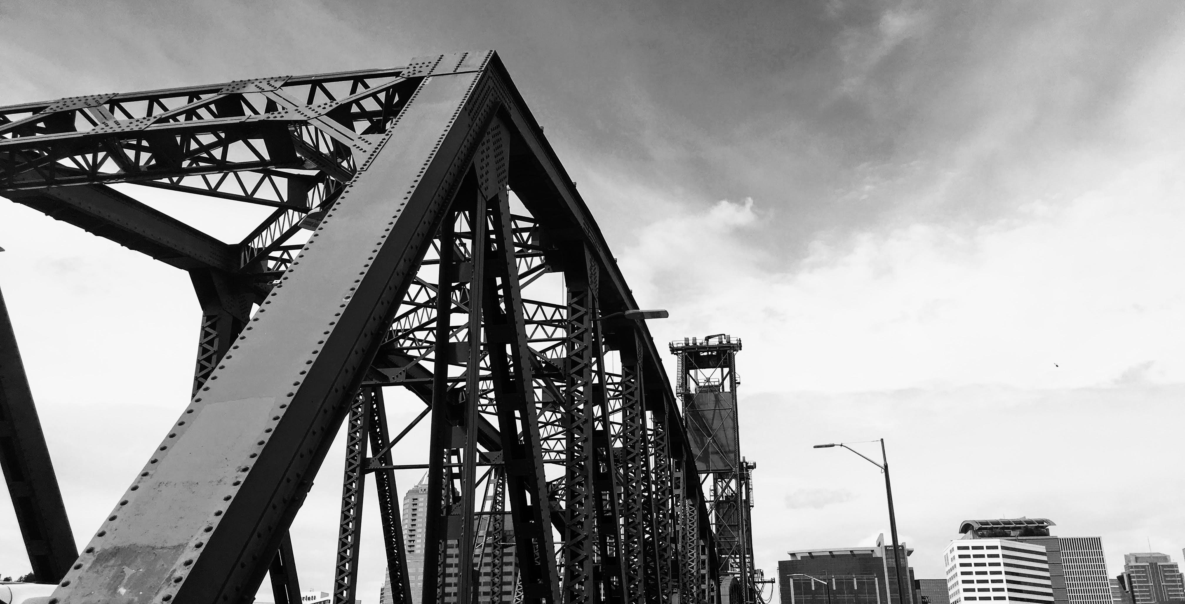 architecture, black and white, bridge