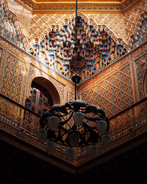 Lamp inside old ornamental building