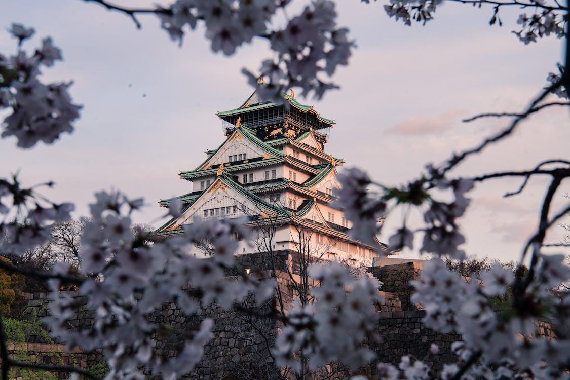 White and Green Osaka Castle