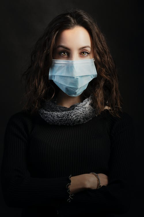 Woman in Black Long Sleeve Shirt Wearing Face Mask