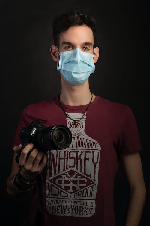 câmera, cara, coronavírus