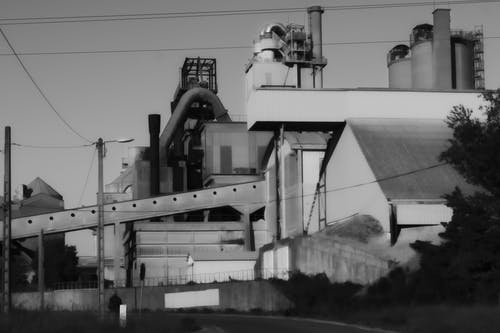 Free stock photo of black and white, cheminee, factory