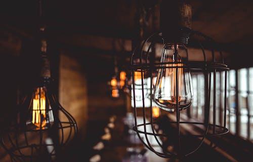 Vintage lamps in dark room